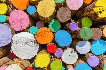Stapel kleurrijk geverfde boomstammen als kunst van Ben Schonewille