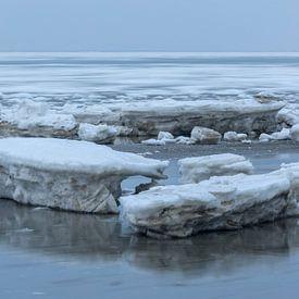 Moving floes behind blocks of ice von Karla Leeftink