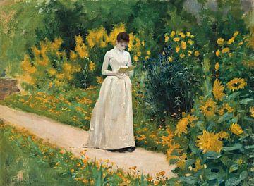 Lesen auf dem Gartenweg, Albert Aublet