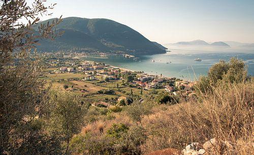 De baai van Vasiliki op Lefkas, Griekenland