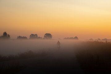 Mit dem Rad zur Arbeit durch den Nebel von Danielle Kramer