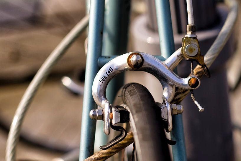 Detail van oude racefiets van Vincent van Kooten
