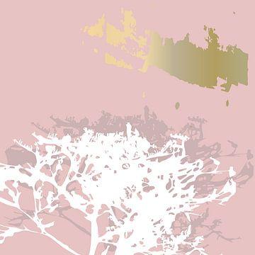 Botanische Pflanzen 2 . Zweige in Pastellfarben mit goldenen abstrakten Pinselstrichen von Dina Dankers