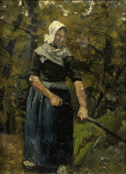 Bäuerin mit Stock, Richard Nicolaüs Roland Holst, 1890 von Marieke de Koning
