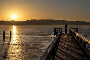 Jeune femme de dos en silhouette sur une jetée en bois prenant une photo du soleil levant sur le lac sur Maren Winter