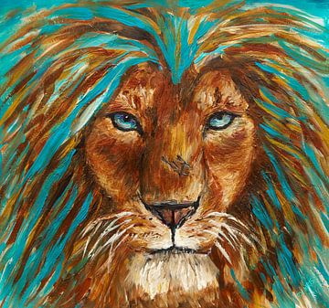 Portret van een leeuw van Eye to Eye Xperience By Mris & Fred