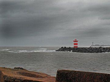 Hafenkopf Scheveningen bei Sturm von Rinke Velds
