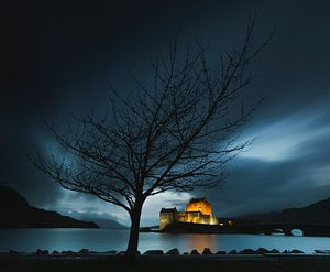 Eilean Donan Castle in het blauwe uur van