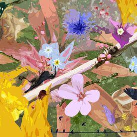 Nature morte avec des fleurs et des animaux près d'une branche sur Susan Hol