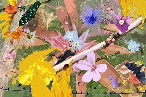 Nature morte avec des fleurs et des animaux près d'une branche