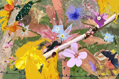 Stilleven met bloemen en dieren bij een tak