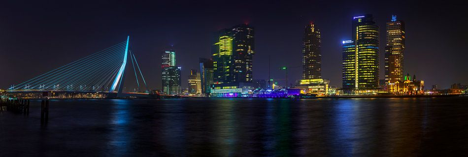 Panorama Erasmusbrug Rotterdam van Peter Bolman