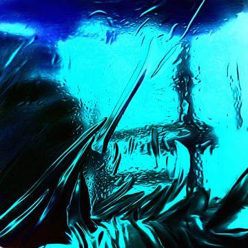 Abstrakt in Blau und Schwarz von Maurice Dawson