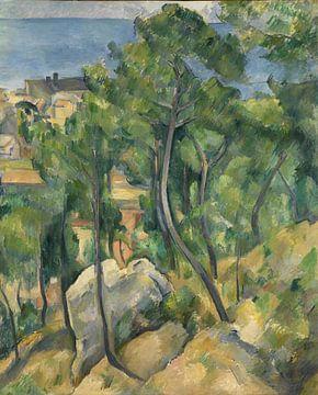Paul Cézanne - Blick auf das Meer in L'Estaque von 1000 Schilderijen