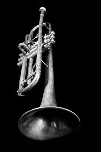 Alte Vintage Jazz Brass Trompete Musik Liebhaber Schwarz Weiß von Andreea Eva Herczegh
