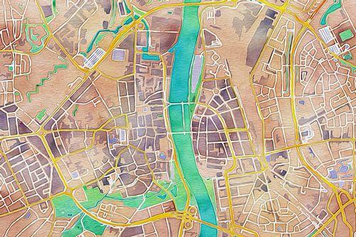 Kleurrijke kaart van Maasstricht van