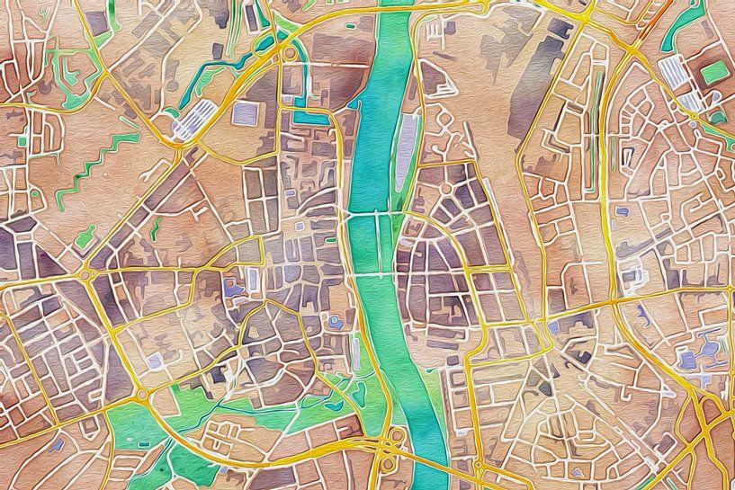 Kleurrijke kaart van Maasstricht van Stef Verdonk