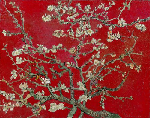 Amandelbloesem van Vincent van Gogh (Rood) van Meesterlijcke Meesters