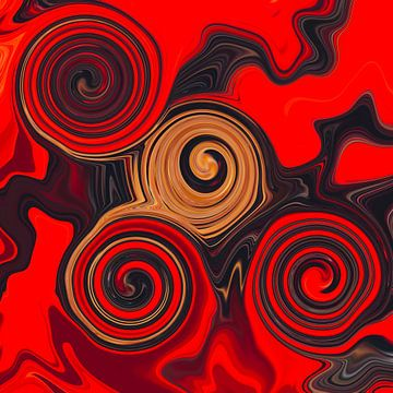 Abstracte Kunst - Vloeibare Schilderkunst Rode Zonde van Patricia Piotrak