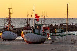 Des bateaux de pêche danois sur la plage