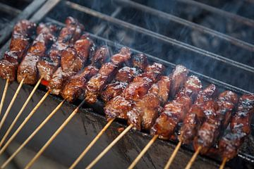 Lekkere sate op de barbecue van Ger Beekes