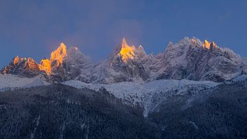 Alpengloed Aiguilles de Chamonix