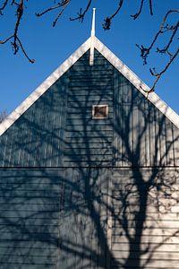 Schaduw op blauw huis
