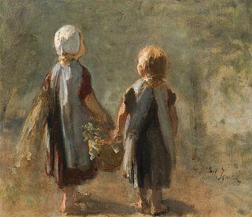 Zwei kleine Mädchen tragen einen Korb - Jozef Israels