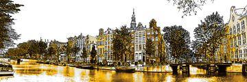 Goldenes Kloveniersburgwal Zeichnung Amsterdam von Hendrik-Jan Kornelis