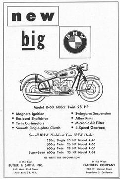 Vintage advertentie 1957 BMW R-60 Motor von Jaap Ros