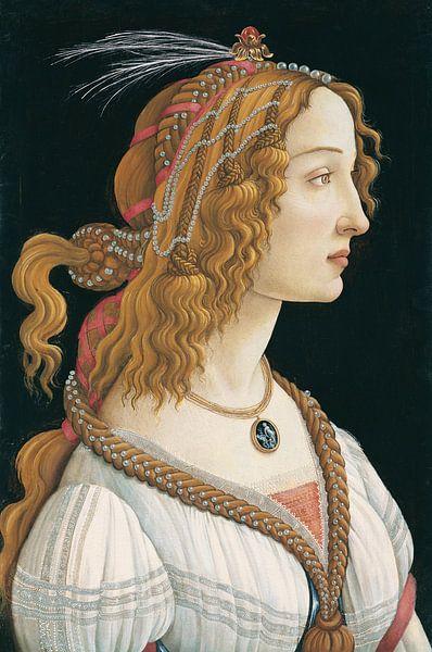Porträt einer jungen Frau, Sandro Botticelli von Meesterlijcke Meesters