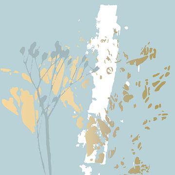 Botanische planten 15 . Ranke takjes in pastel kleuren met gouden abstracte penseelstreken
