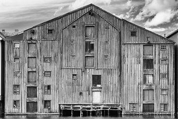 Pakhuis Trondheim in zwart/wit sur Menno Schaefer