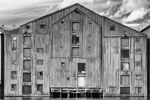 Pakhuis Trondheim in zwart/wit van