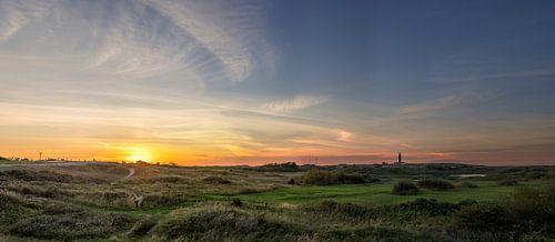 Vuurtoren Eierland Texel - zonsondergang van