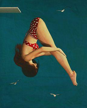 Peinture d'une fille qui plonge sur Jan Keteleer