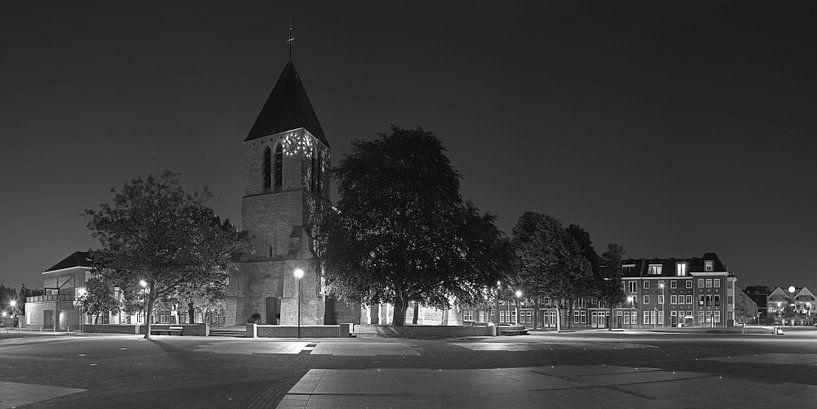 Panorama Dorpskerk Spijkenisse zwart/wit van Anton de Zeeuw