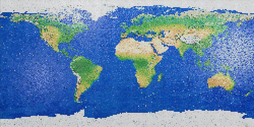 Wereldkaart mozaïek  van Frans Blok