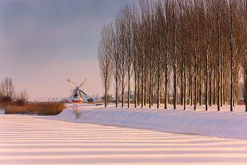 Moulin à vent Noordermolen Noorddijk, Groningen, Pays-Bas sur Henk Meijer Photography