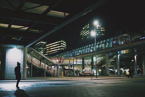 Amsterdam Sloterdijk op een koude winter nacht van