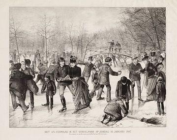 Amsterdam, Het ijsvermaak in het Vondelpark op zondag 16 januari 1887, Johan Braakensiek van Atelier Liesjes