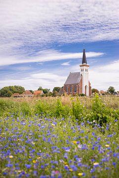 Kirche von Den Hoorn in Blumenfeldern von Matthias van Bloemendaal