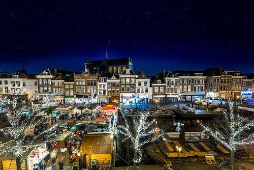 Drijvende kerstmarkt in Leiden van Ruurd Dankloff