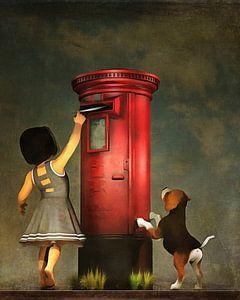 Een puppy en een brief op de post doen