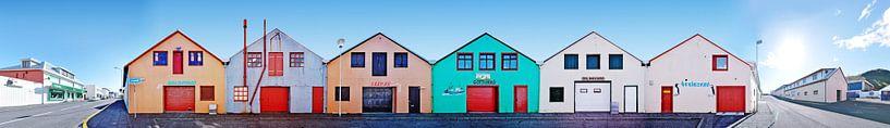 IJsland Westman Eilanden vissershuisjes panorama van Panorama Streetline