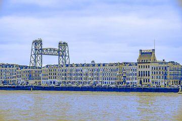 Rotterdam - Willemsbrug en omgeving - Maaskade in blauw tinten van Ineke Duijzer