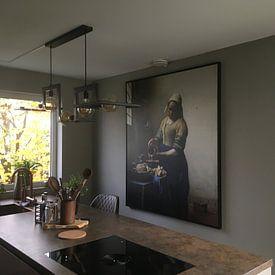 Kundenfoto: Dienstmagd mit Milchkrug - Vermeer gemälde, auf leinwand