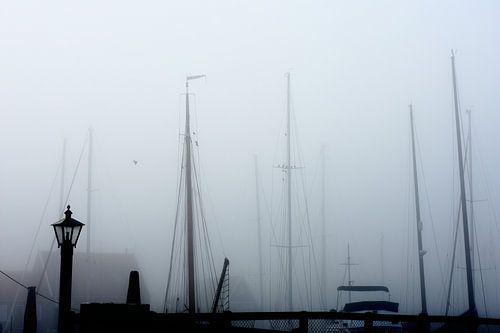 Marken haven in de mist van