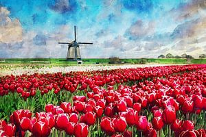 Aquarell mühle mit Tulpenfeld Schermerhorn Holland