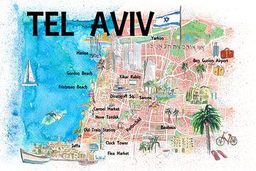 Tel Aviv Israel Geïllustreerde kaart met wegmarkeringen en hoogtepunten van Markus Bleichner